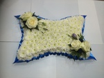 pillow for man in blue and white  floral funeral tribute heavenly scent florist darlingtonfree local delivery