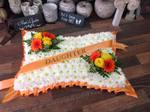 pillow seasonal mixed rose ,carnations gerbera seasonal traditinal foilage  courages  funeral tribute made lovingly by hand in our little shop with fresh flowers in 33 bondgate darlington free local delivery
