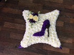 colourful mixed pillow/cushion white chrysanthemum  roses fresh flowers  floral funeral tribute Darlington designer floral tribute funeral sympathy tribute heavenly scent florist Darlington local free delivery same day cheap