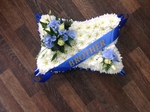 Pillow tribute single ended spray double ended spray white chrysanthemum  roses fresh flowers  floral funeral tribute Darlington designer floral tribute funeral sympathy tribute heavenly scent florist Darlington local free delivery local same day cheap
