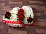 beautiful double heart with white chrysanthemums and red rose courage free local deliveries