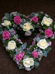 pink and cream and white mixed rose floral funeral tribute eucalyptus and gypsopheliaheavenly scent florist darlington