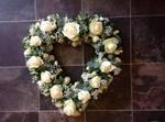 open modern avalanche rose heart  floral funeral tribute heavenly scent florist darlington