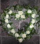 open modern rose heart  floral funeral tribute heavenly scent florist darlington
