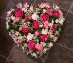 pink and cream mixed  floral funeral tribute heavenly scent florist darlington