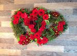 douuble hearts open closed seasonal mixed rose ,carnations gerbera seasonal traditinal foilage  courages  funeral tribute made lovingly by hand in our little shop with fresh flowers in 33 bondgate darlington free local delivery