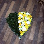 hearts open closed seasonal mixed rose ,carnations gerbera seasonal traditional foliage  courages  funeral tribute made lovingly by hand in our little shop with fresh flowers in 33 bondgate darlington free local delivery