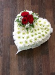 colourful mixed open/double hearts white chrysanthemum  roses fresh flowers  floral funeral tribute Darlington designer floral tribute funeral sympathy tribute heavenly scent florist Darlington local free delivery same day cheap