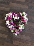 colourful mixed open/double hearts white chrysanthemum  roses fresh flowers  floral funeral tribute Darlington designer floral tribute funeral sympathy tribute heavenly scent florist Darlington local free delivery same day cheap darlington florists