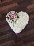 colorful mixed open/double hearts white chrysanthemum  roses fresh flowers  floral funeral tribute Darlington designer floral tribute funeral sympathy tribute heavenly scent florist Darlington local free delivery same day cheap darlington florist
