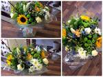 Yellow, Cream & Green Aqua-pack handtied  fresh flowers made by our florists in our family run business free local delivery and surrounding areas in darlington