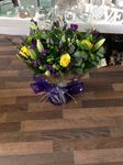 Yellow, Purple & Green aqua-pack handtied  fresh flowers made by our florists in our family run business free local delivery and surrounding areas in darlington
