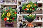 Orange,Yellow & Green Aqua-pack handtied  fresh flowers made by our florists in our family run business free local delivery and surrounding areas in darlington
