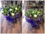 Purple, Cream and Green Bouquet aqua-pack handtied  fresh flowers made by our florists in our family run business free local delivery and surrounding areas in darlington
