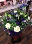 purple, cream and green aqua-pack handtied  fresh flowers made by our florists in our family run business free local delivery and surrounding areas in darlington