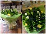 Yellow and green aqua-pack handtied  fresh flowers made by our florists in our family run business free local delivery and surrounding areas in darlington