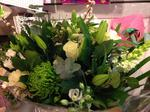 Cream and green bouquet handtied  fresh flowers made by our florists in our family run business free local delivery and surrounding areas in darlington