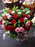 Pink And Red Rose Bouquet handtied  fresh flowers made by our florists in our family run business free local delivery and surrounding areas in darlington
