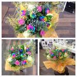 stunning rainbow rose bouquet hand tied  fresh flowers made by our florists in our family run business free local delivery and surrounding areas in darlington
