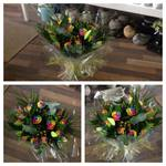 rainbow rose and berry bouquet hand tied  fresh flowers made by our florists in our family run business free local delivery and surrounding areas in darlington