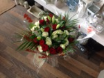red and cream rose and lily bouquet hand tied  fresh flowers made by our florists in our family run business free local delivery and surrounding areas in darlington