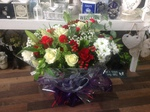red and cream bouquet hand tied  fresh flowers made by our florists in our family run business free local delivery and surrounding areas in darlington