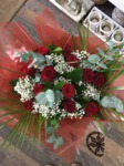 red rose and gypbouquet hand tied  fresh flowers made by our florists in our family run business free local delivery and surrounding areas in darlington