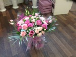 pink roses and carnations  bouquet hand tied  fresh flowers made by our florists in our family run business free local delivery and surrounding areas in darlington