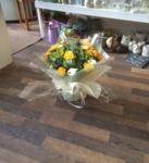 yellow and soft brown bouquet hand tied  fresh flowers made by our florists in our family run business free local delivery and surrounding areas in darlington