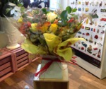 yellow orange and cream bouquet hand tied  aqua pack fresh flowers made by our florists in our family run business free local delivery and surrounding areas in darlington