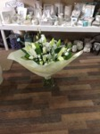 white lily and gyp bouquet hand tied  aqua pack fresh flowers made by our florists in our family run business free local delivery and surrounding areas in darlington