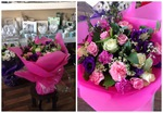 a stunning mix of pink and cream roses and purple  bouquet hand tied  aqua pack fresh flowers made by our florists in our family run business free local delivery and surrounding areas in darlington