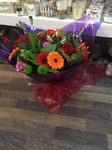A stunning  mix of pink and vibrant  roses  bouquet hand tied  aqua pack fresh flowers made by our florists in our family run business free local delivery and surrounding areas in Darlington free local delivery family run friendly